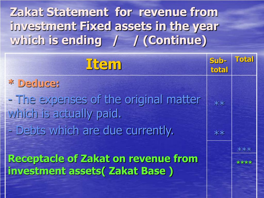Zakat Statement  for  revenue from investment Fixed assets in the year which is ending   /    / (Continue)