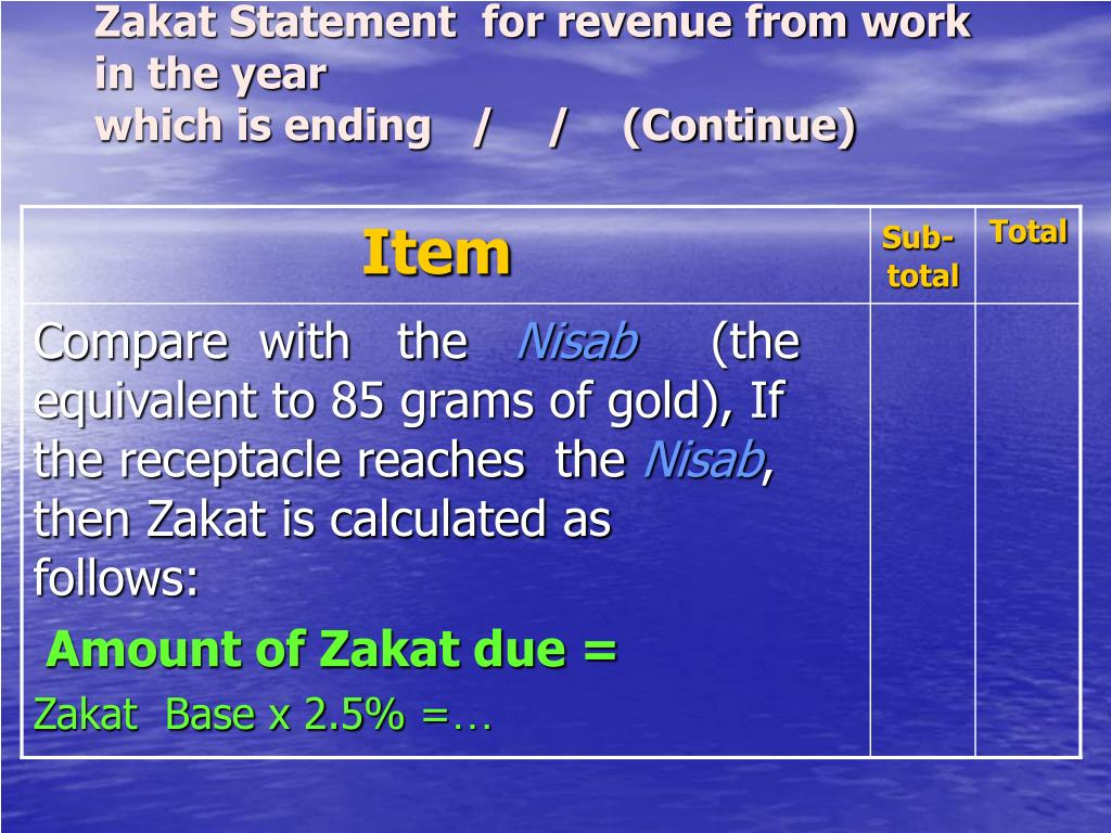 Zakat Statement  for revenue from work in the year