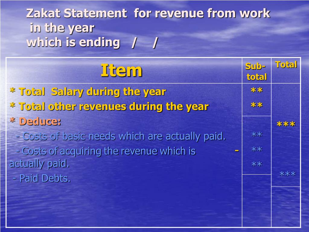 Zakat Statement  for revenue from work