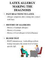 latex allergy making the diagnosis
