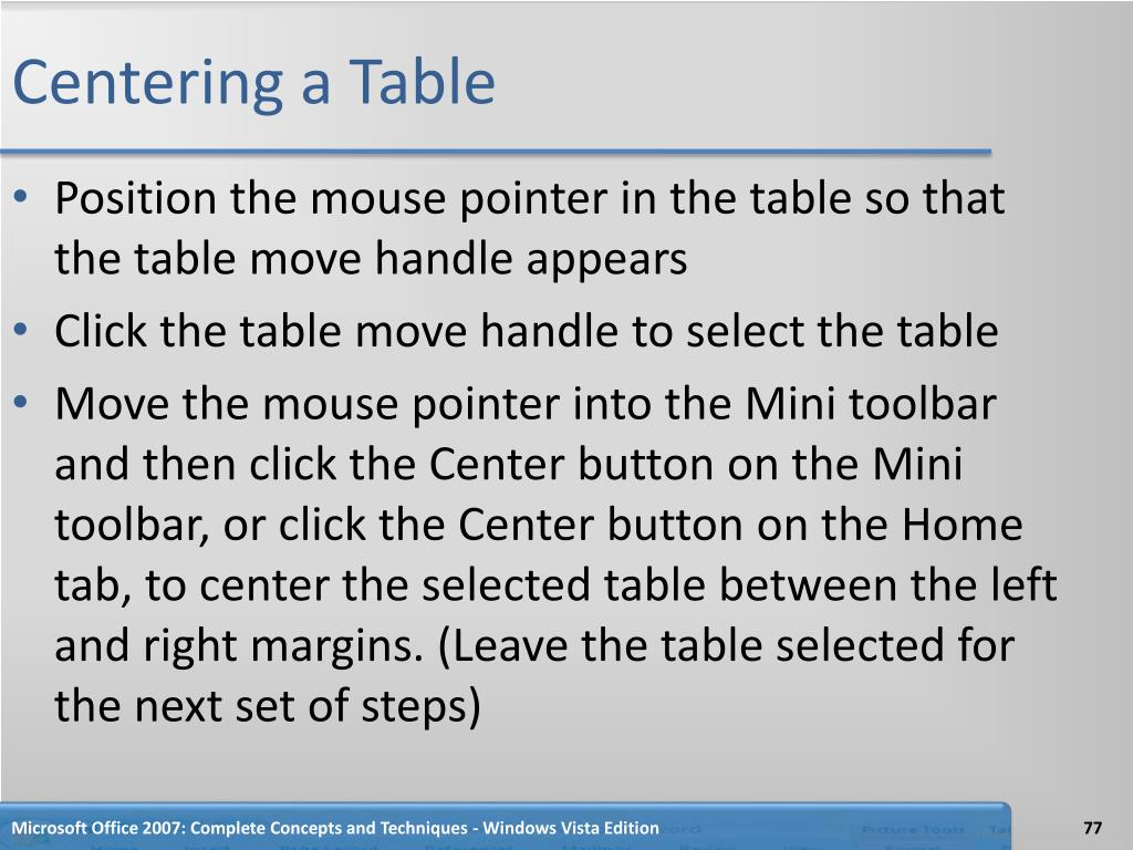 Centering a Table