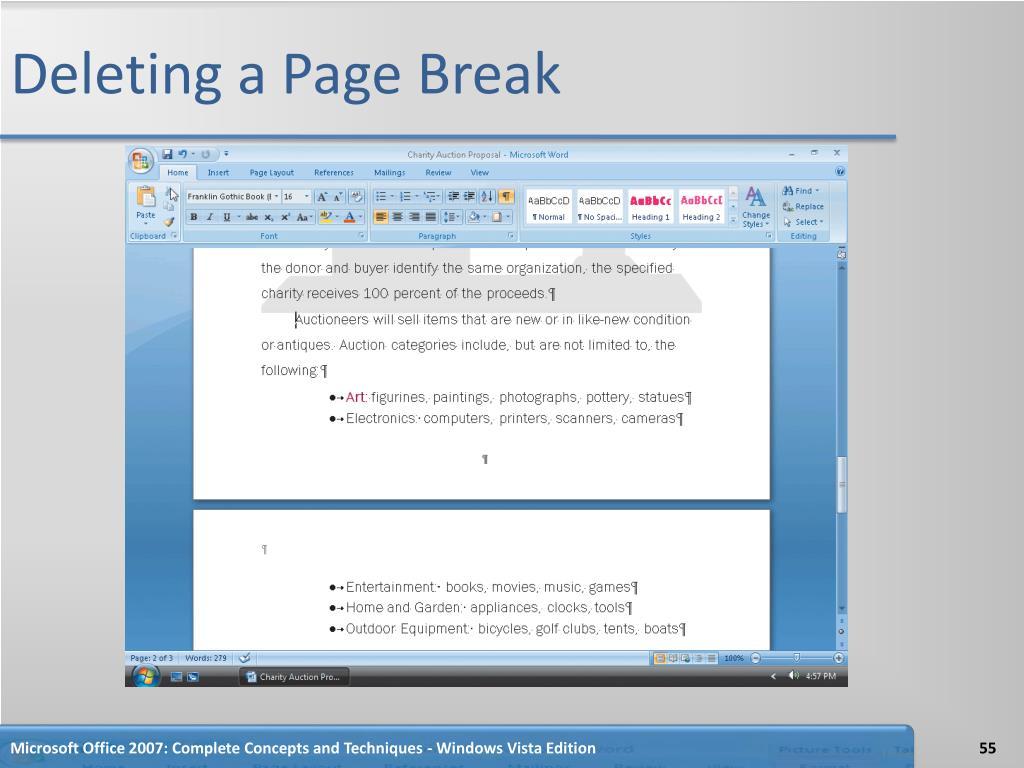 Deleting a Page Break
