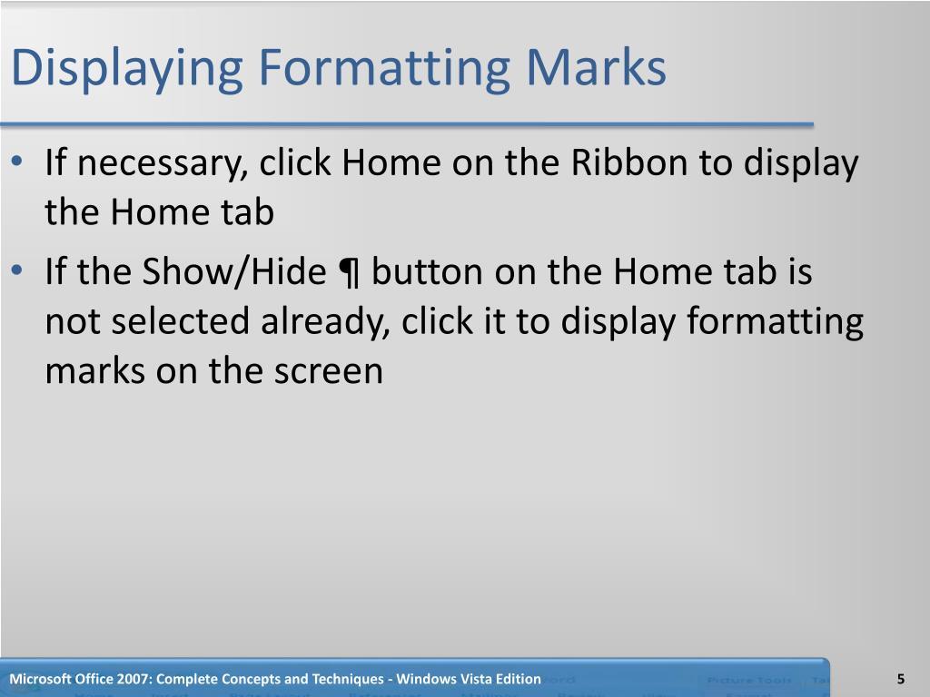 Displaying Formatting Marks