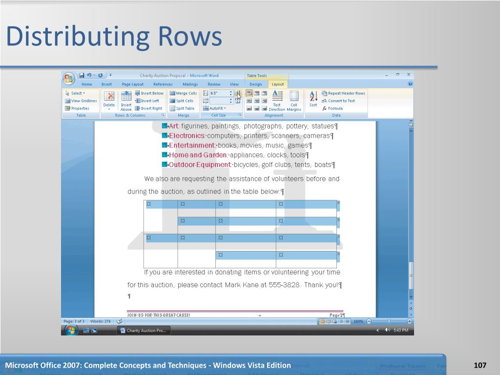 Distributing Rows