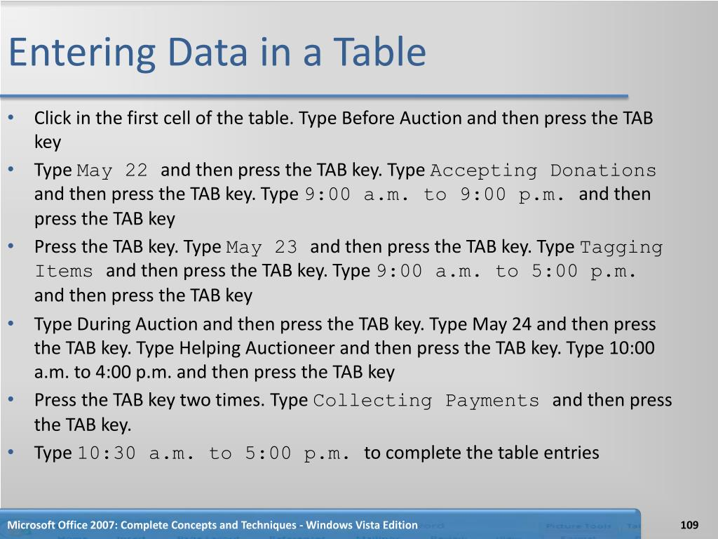 Entering Data in a Table