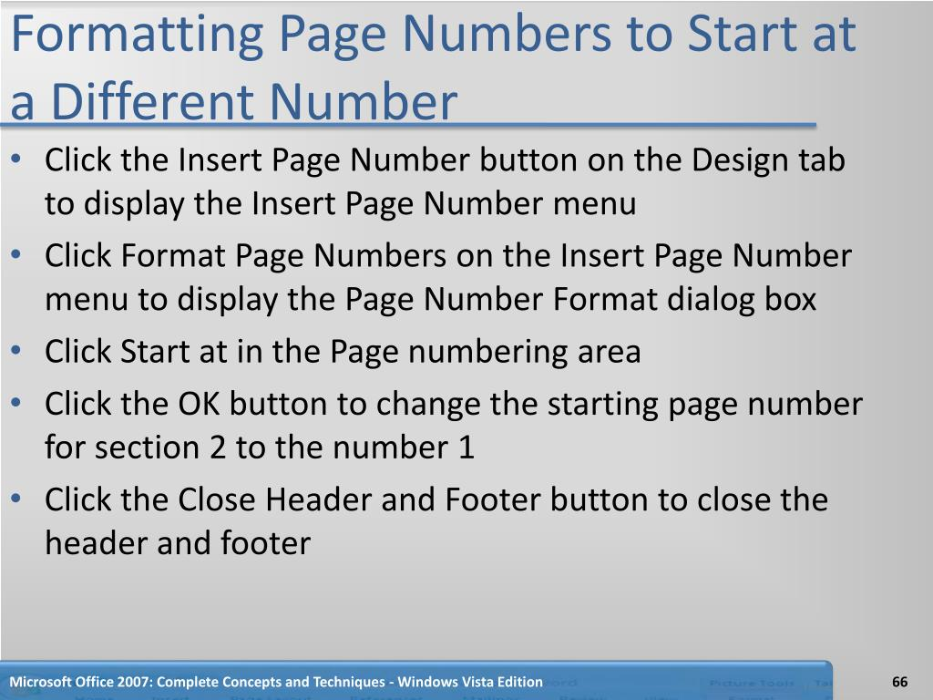 Formatting Page Numbers to Start at a Different Number