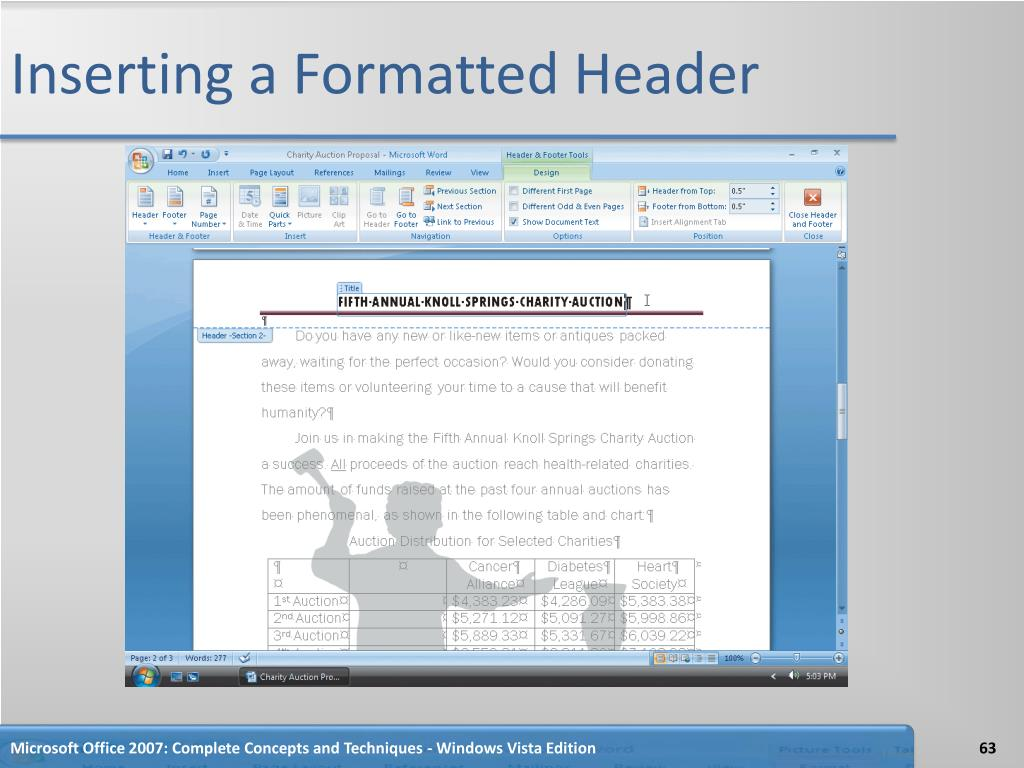 Inserting a Formatted Header