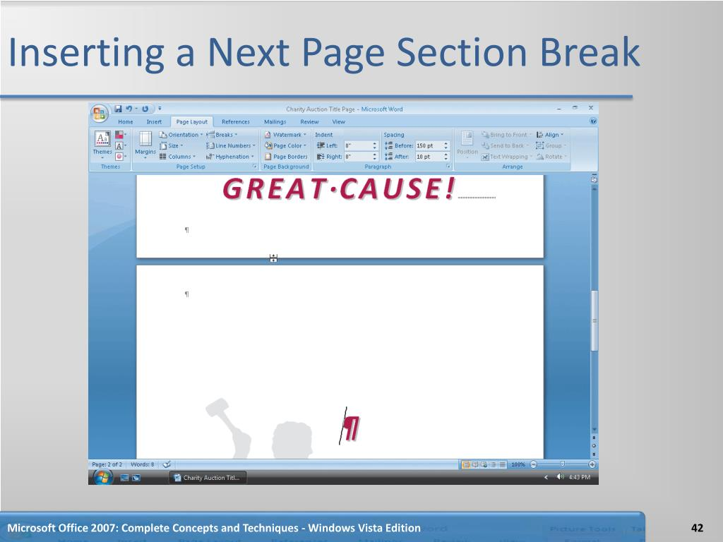 Inserting a Next Page Section Break