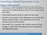 inserting a word document in an open document46