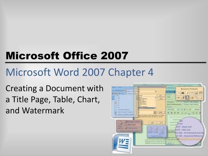 Microsoft word 2007 chapter 4