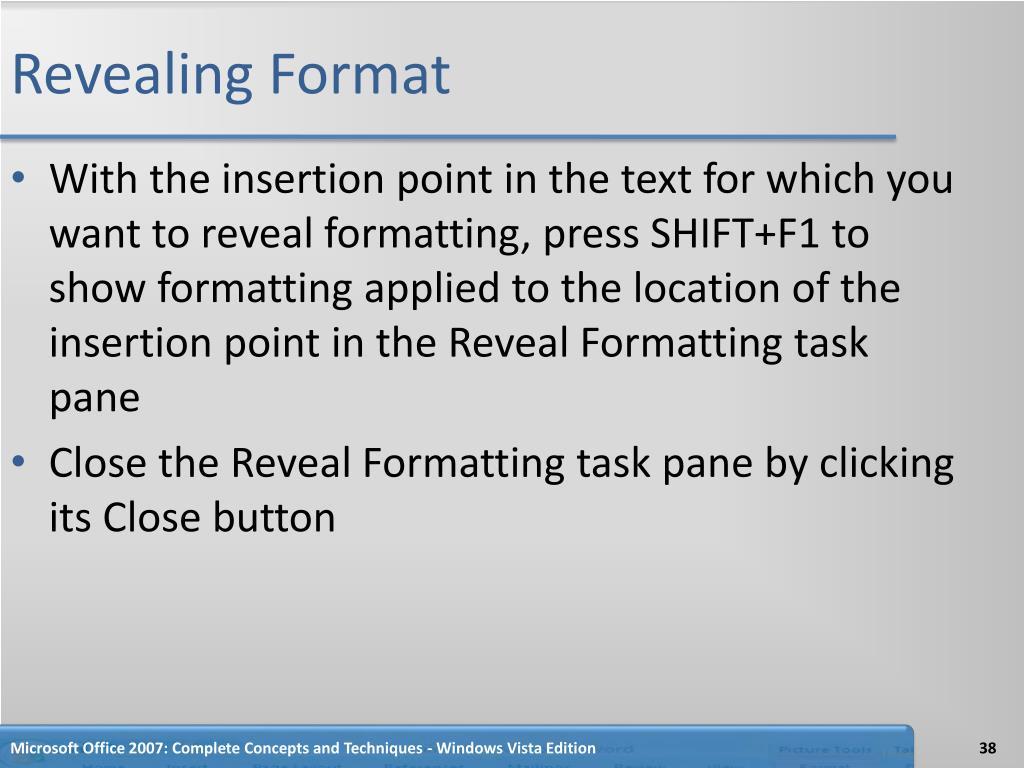 Revealing Format