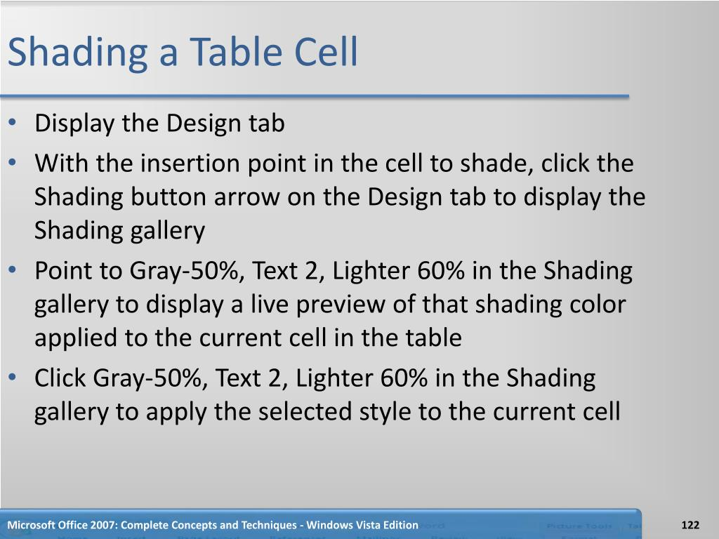 Shading a Table Cell