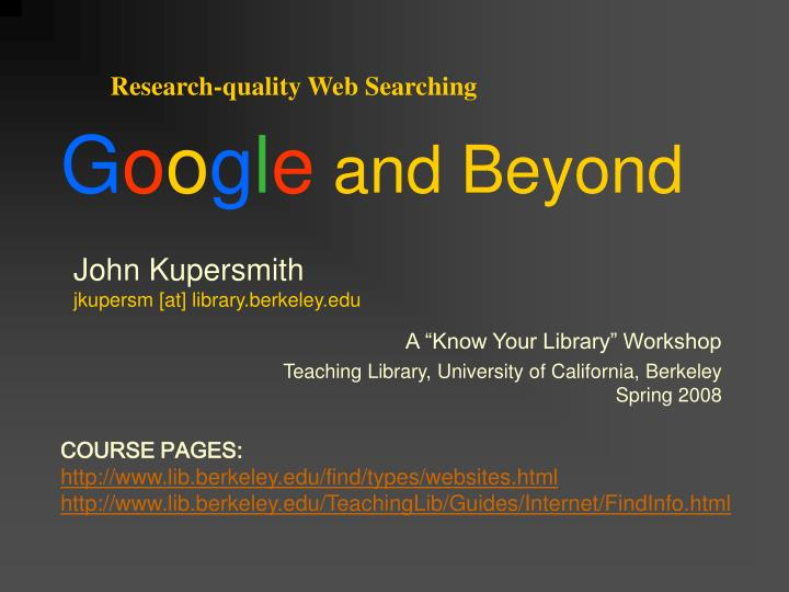 Research-quality Web Searching