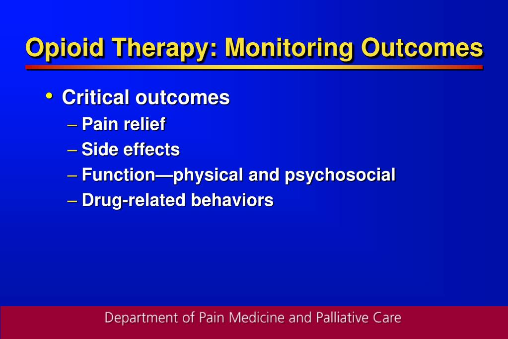 Opioid Therapy: Monitoring Outcomes