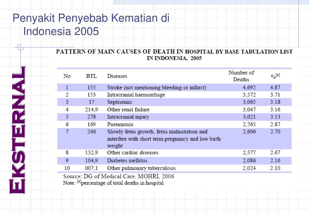 Penyakit Penyebab Kematian di Indonesia 2005
