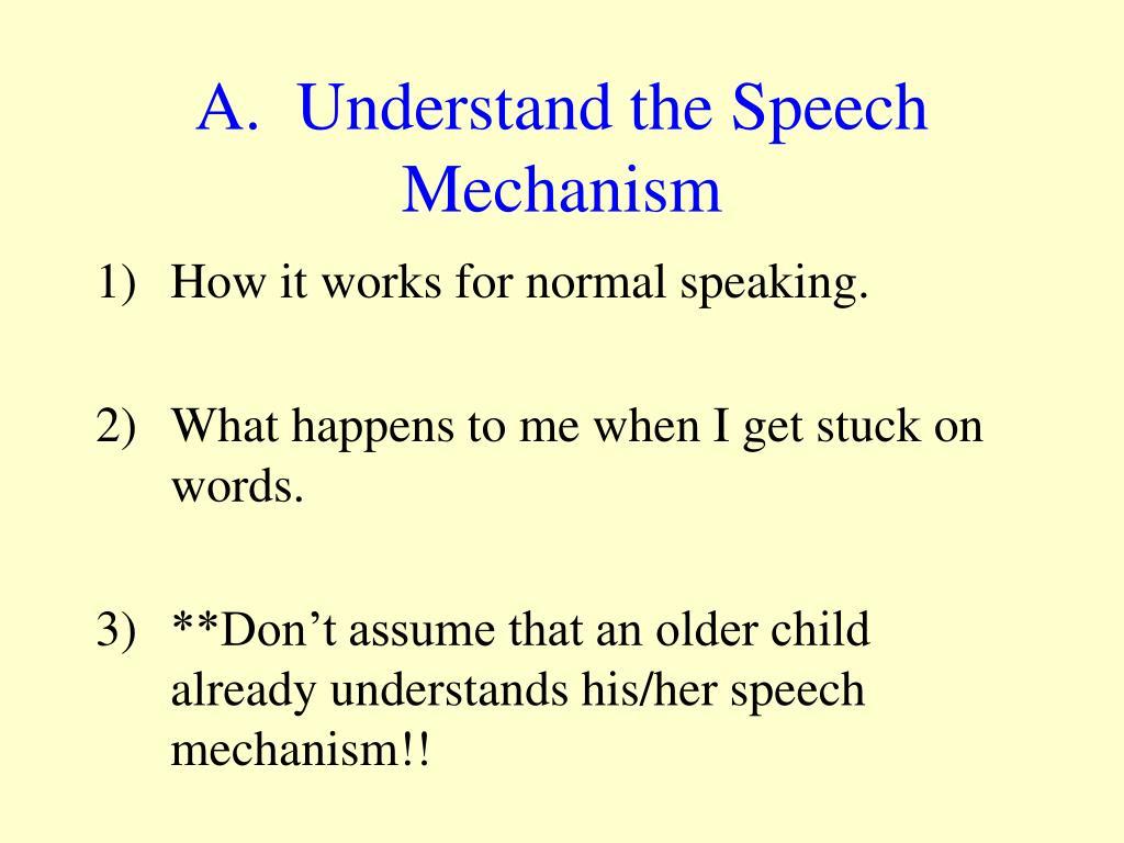 A.  Understand the Speech Mechanism