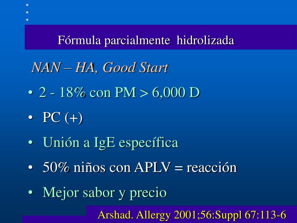 Fórmula parcialmente  hidrolizada