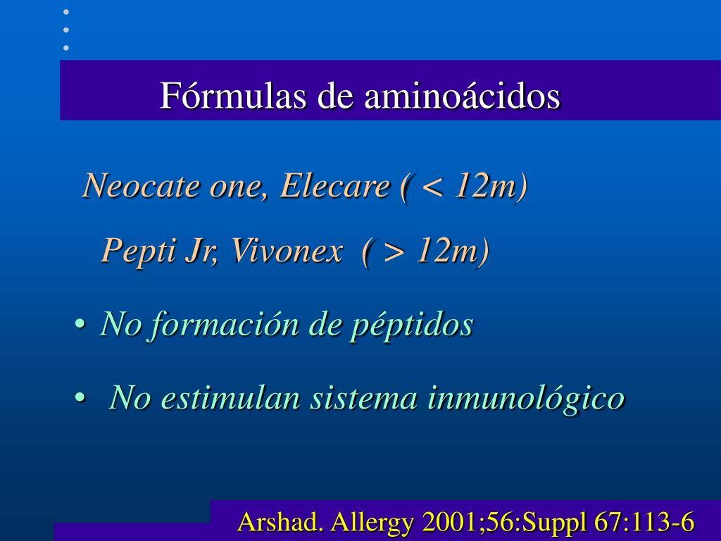 Fórmulas de aminoácidos