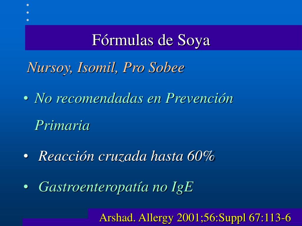 Fórmulas de Soya