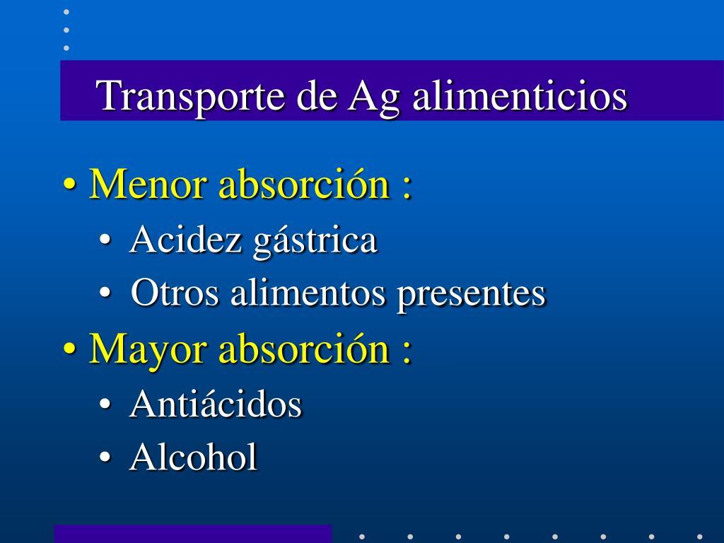 Transporte de Ag alimenticios