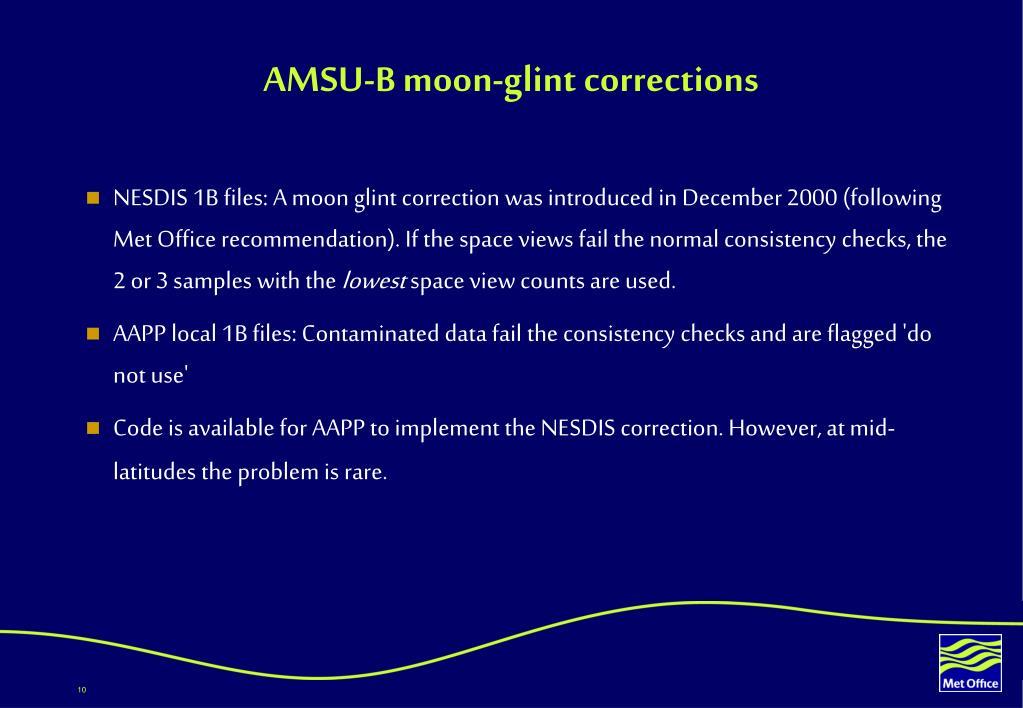 AMSU-B moon-glint corrections