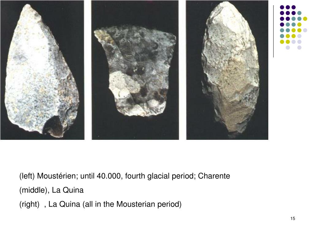 (left) Moustérien; until 40.000, fourth glacial period; Charente