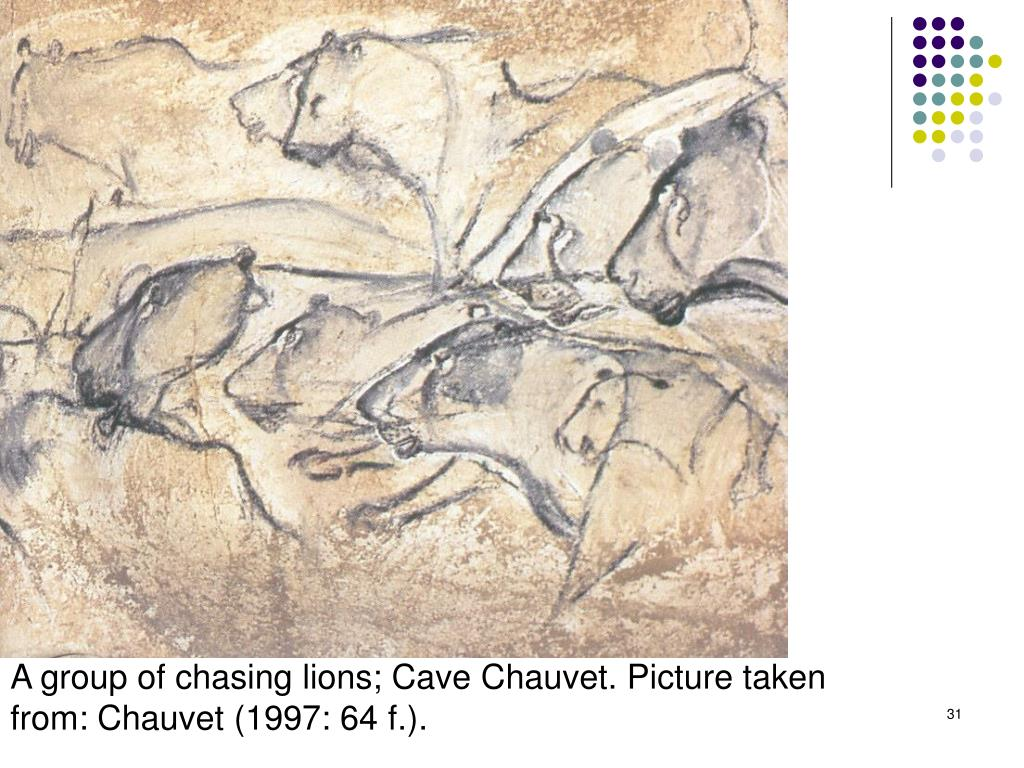 A group of chasing lions; Cave Chauvet. Picture taken from: Chauvet (1997: 64 f.).