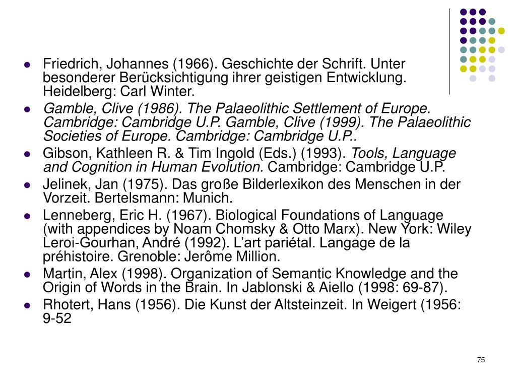 Friedrich, Johannes (1966). Geschichte der Schrift. Unter besonderer Berücksichtigung ihrer geistigen Entwicklung.
