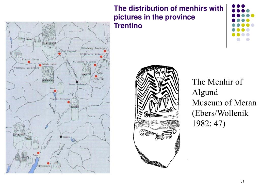 The distribution of menhirs with pictures in the province Trentino