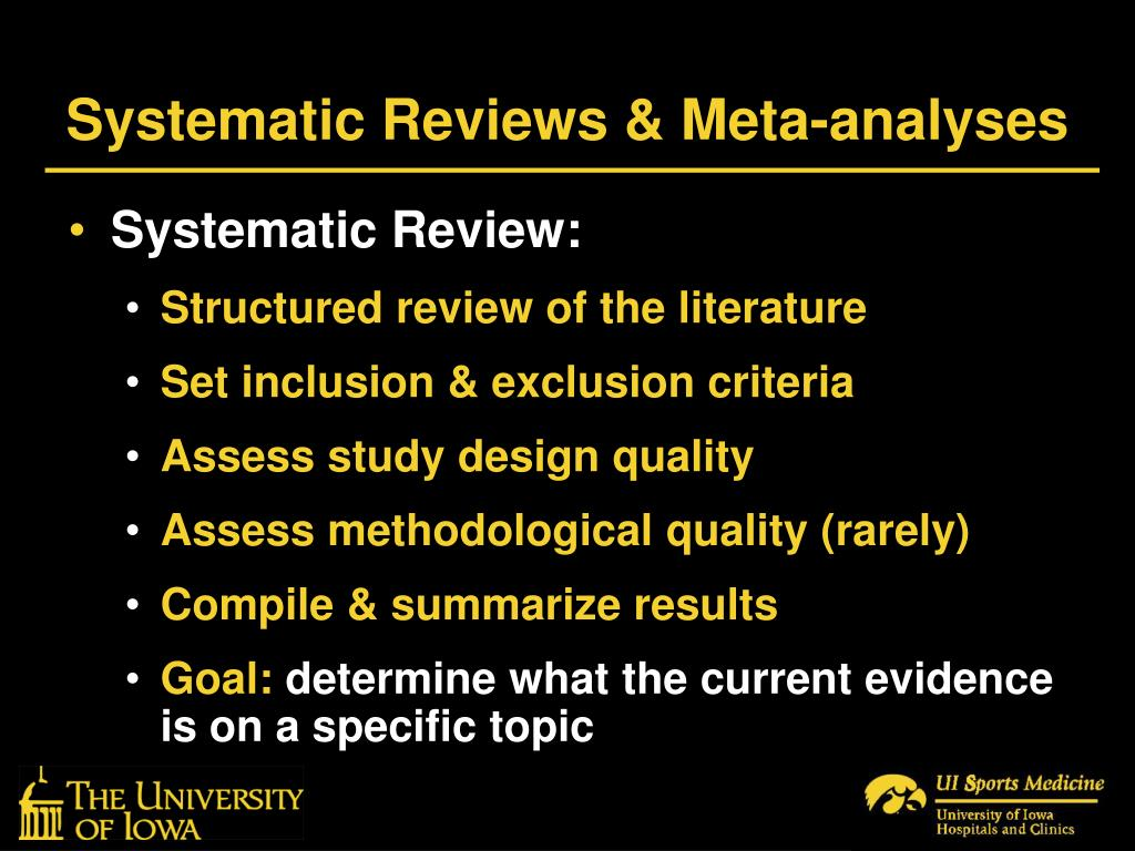 Systematic Reviews & Meta-analyses
