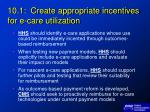 10 1 create appropriate incentives for e care utilization