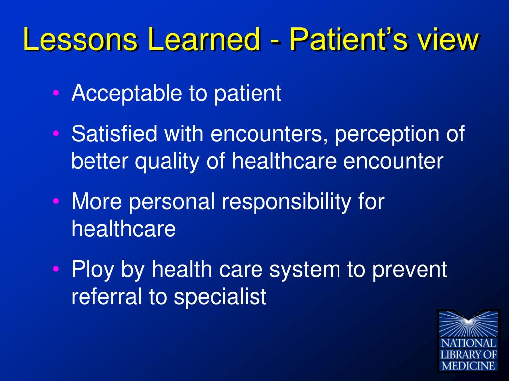 Lessons Learned - Patient's view