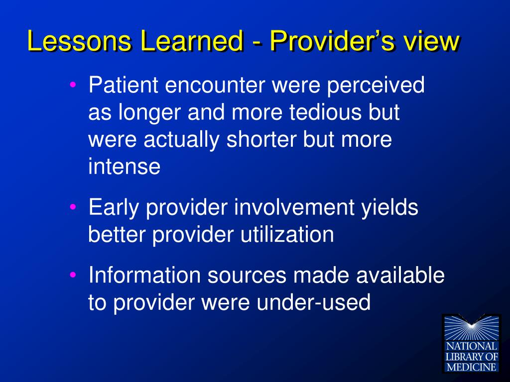 Lessons Learned - Provider's view