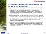 evaluating deficiencies identified as part of the audit continued23
