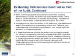 evaluating deficiencies identified as part of the audit continued24