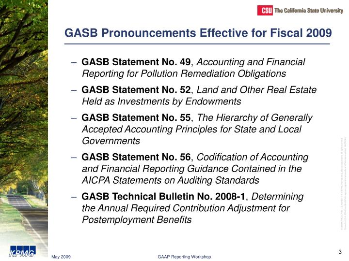 Gasb pronouncements effective for fiscal 2009