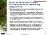 key issues raised in the pension accounting and financial reporting exposure draft