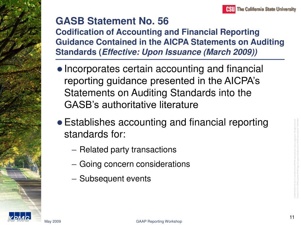 GASB Statement No. 56