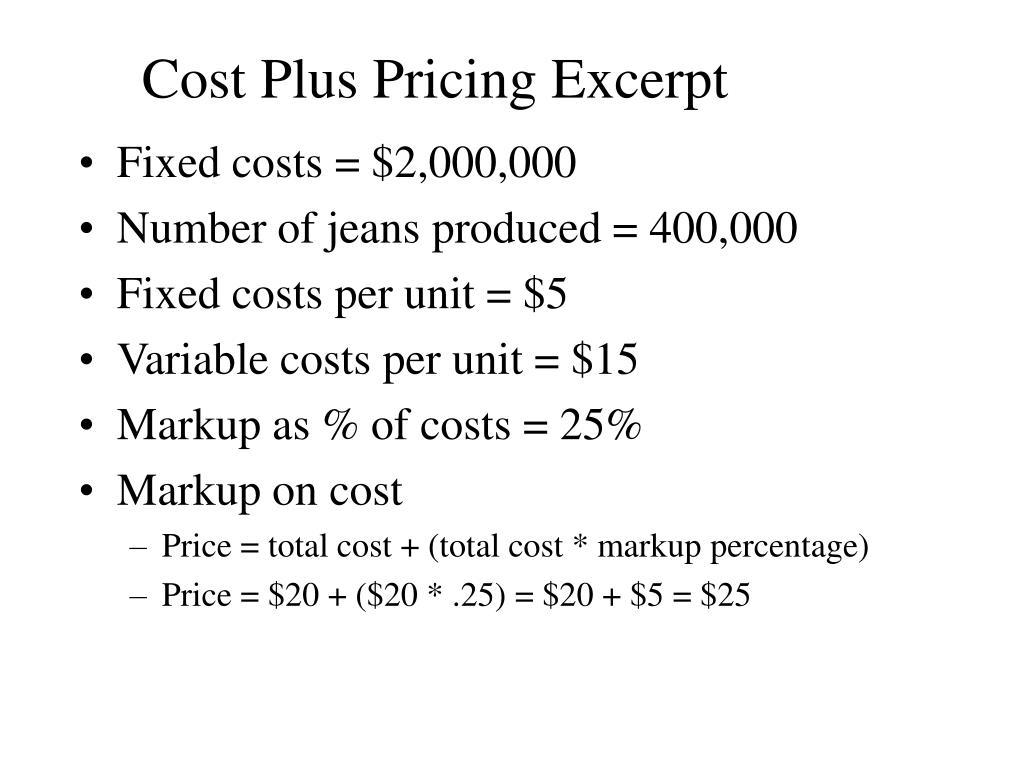 Cost Plus Pricing Excerpt