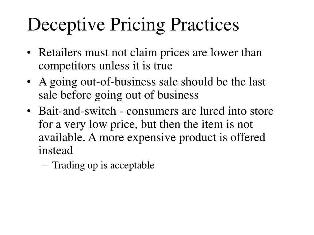 Deceptive Pricing Practices