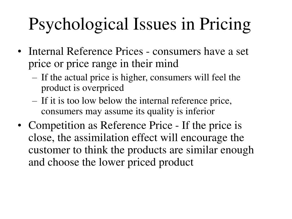 Psychological Issues in Pricing