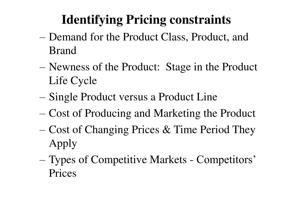 Identifying Pricing constraints