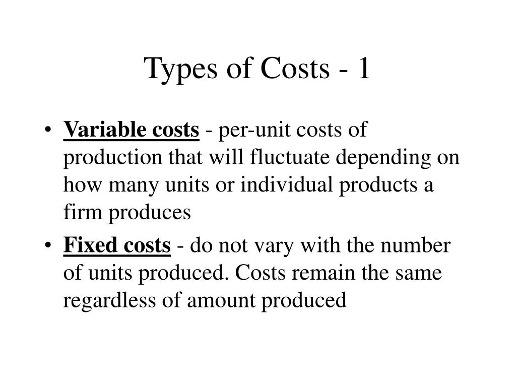 Types of Costs - 1