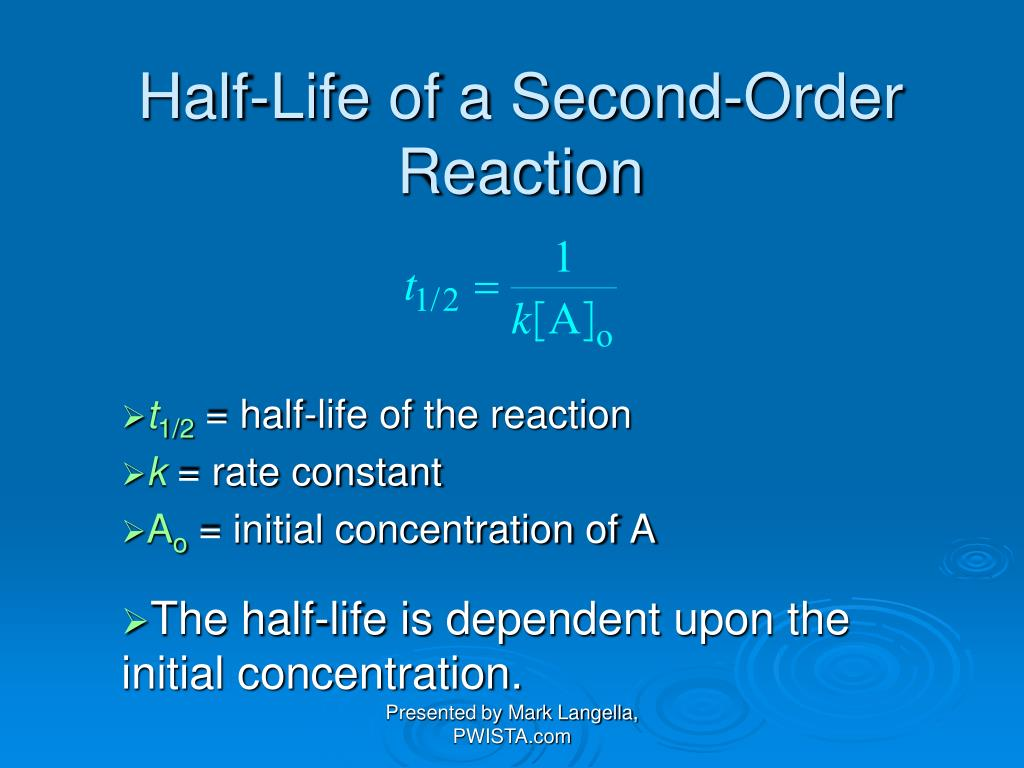 Half-Life of a Second-Order Reaction