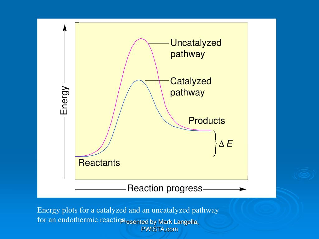 Energy plots for a catalyzed and an uncatalyzed pathway