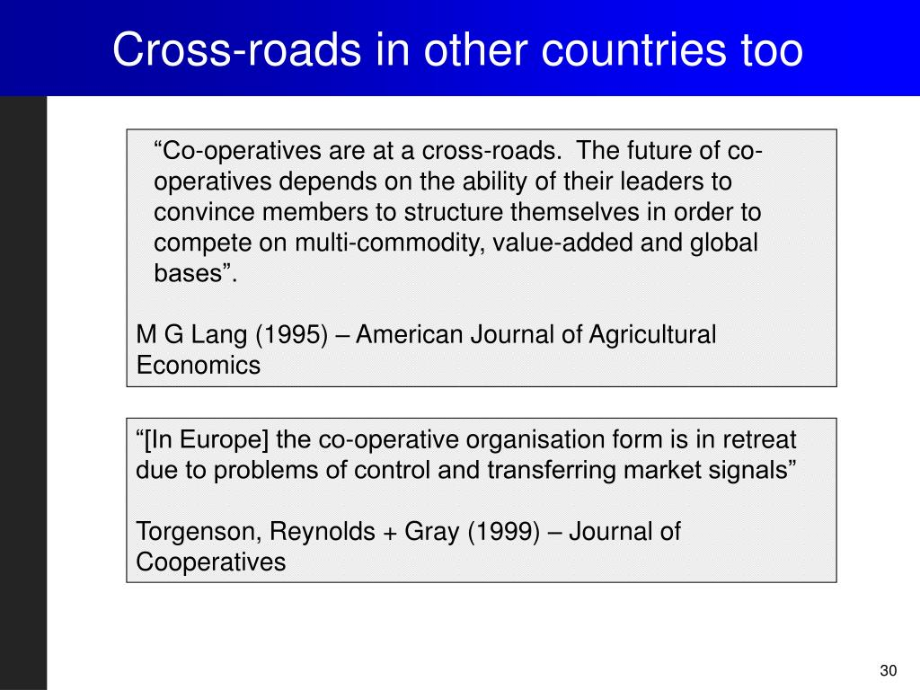 Cross-roads in other countries too