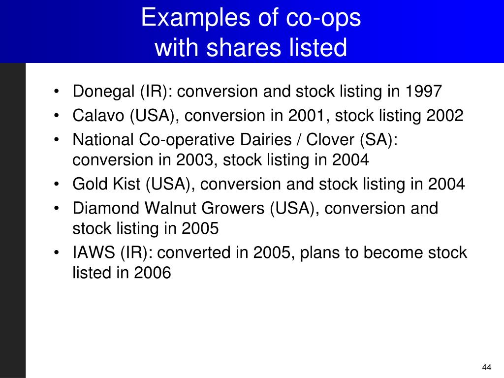 Examples of co-ops