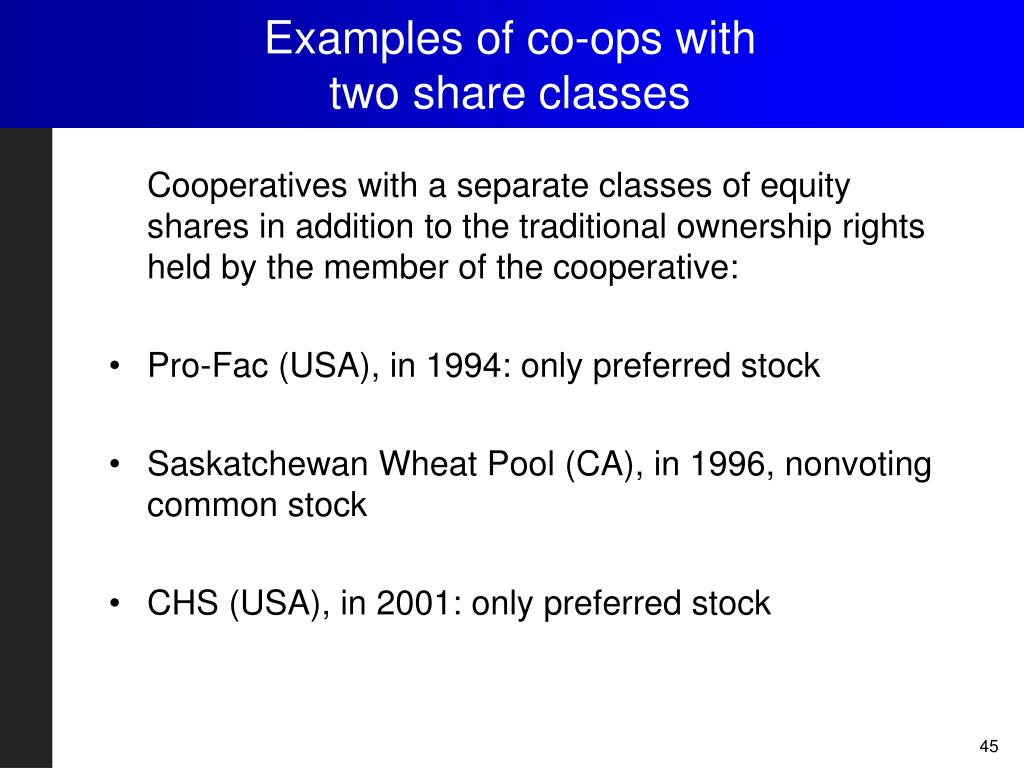 Examples of co-ops with