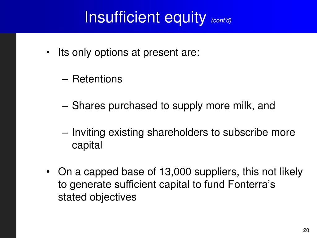 Insufficient equity