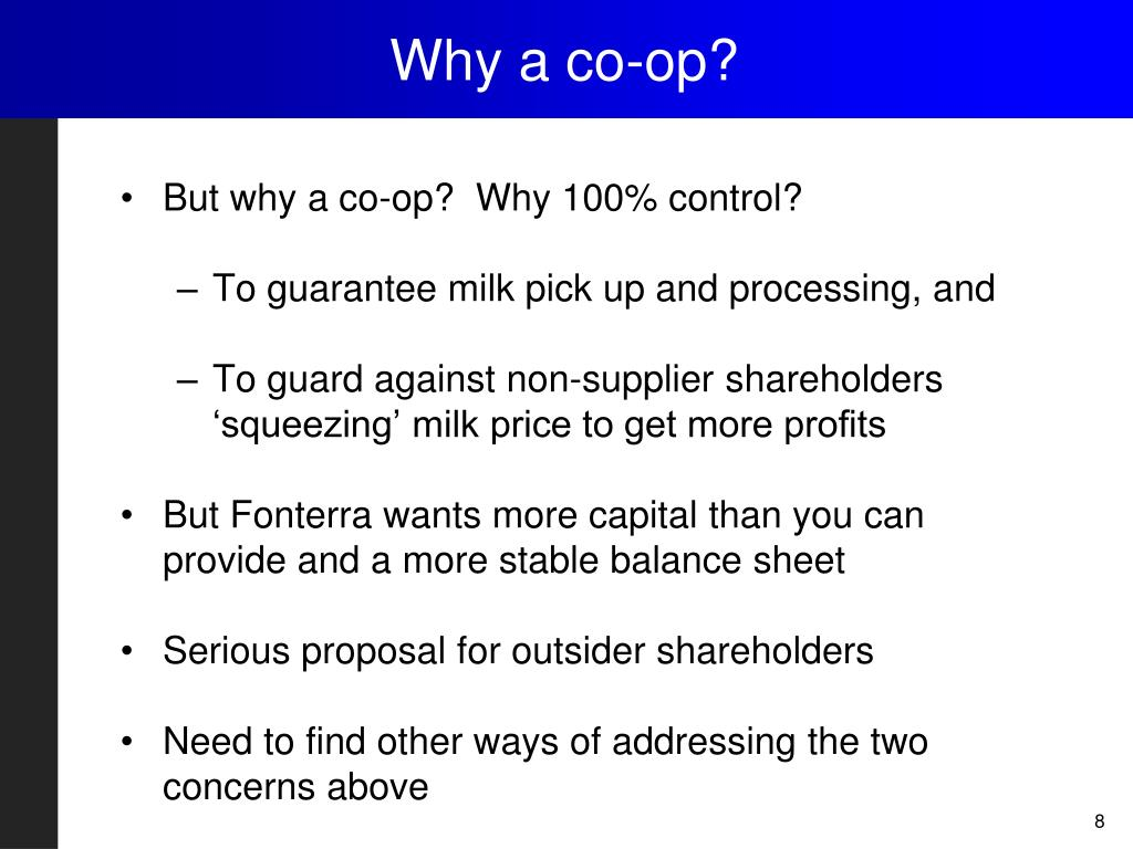Why a co-op?